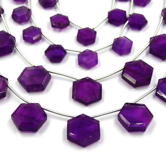 Amethyst Beads | Hand Cut Indian Gemstone | 10mm and 15mm Hexagon Shaped Beads | High Quality Amethyst | Loose Gemstone Beads
