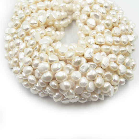 Freshwater Pearl Beads | 10-11mm x 11-11.5mm High Quality Off White Nugget Pearls