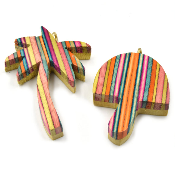 Wood Pendant | Rainbow Mushroom Pendant | Rainbow Palm Tree Pendant | Wooden Pendant with Ring