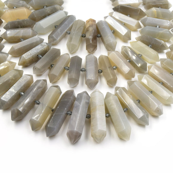 Gray Moonstone Beads | Double Point Center Drilled Gemstone Beads | 25mm - 50mm Graduated Double Point Shaped Beads