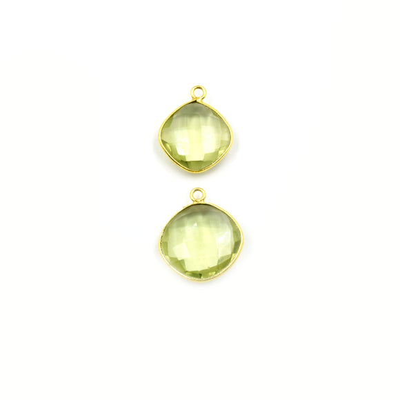 Light Green Quartz Bezel | Gold Finish Faceted Transparent Diamond Shaped Pendant Connector Component | Sold Individually