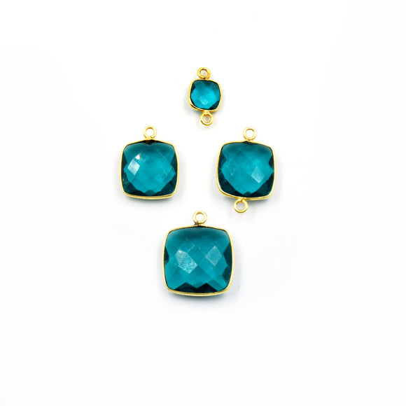 Teal Quartz Bezel | Gold Finish Faceted Transparent Square Shaped Pendant Connector Component | Sold Individually