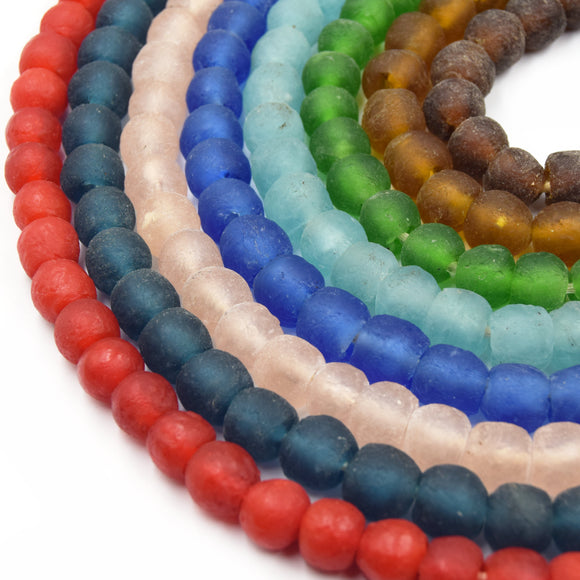 "African Glass Beads | 14mm Recycled African Glass Round Rondelle Beads - Sold by Approx. 22"" Strand (~40 Beads)"