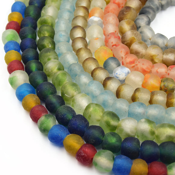 Decorative African Glass Beads | 14mm Recycled African Glass Round Rondelle Beads - Sold by Approx. 22