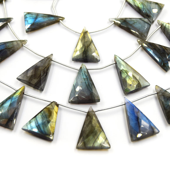 Labradorite Beads | Hand Cut Indian Gemstone | 18mm x 28mm Triangle Trillion Shaped Beads | AAA Labradorite | Loose Gemstone Beads