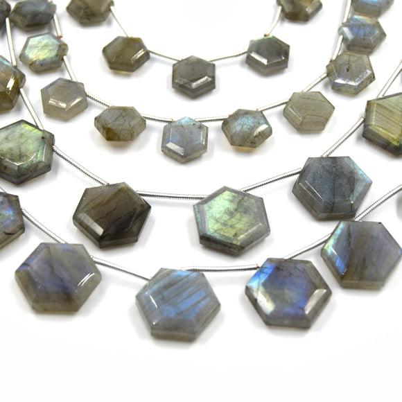 Labradorite Beads | Hand Cut Indian Gemstone | 10mm and 15mm Hexagon Shaped Top Drilled Beads | AAA Labradorite | Loose Gemstone Beads
