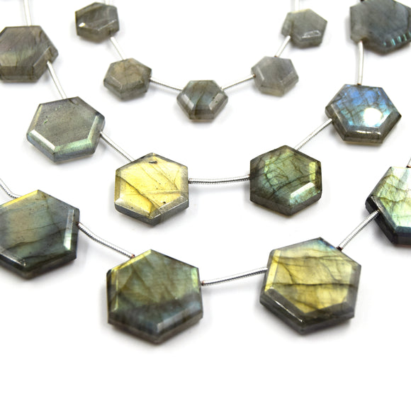 Labradorite Beads | Hand Cut Indian Gemstone | 10mm, 15mm, 20mm Hexagon Shaped Side Drilled Beads | AAA Labradorite | Loose Gemstone Beads