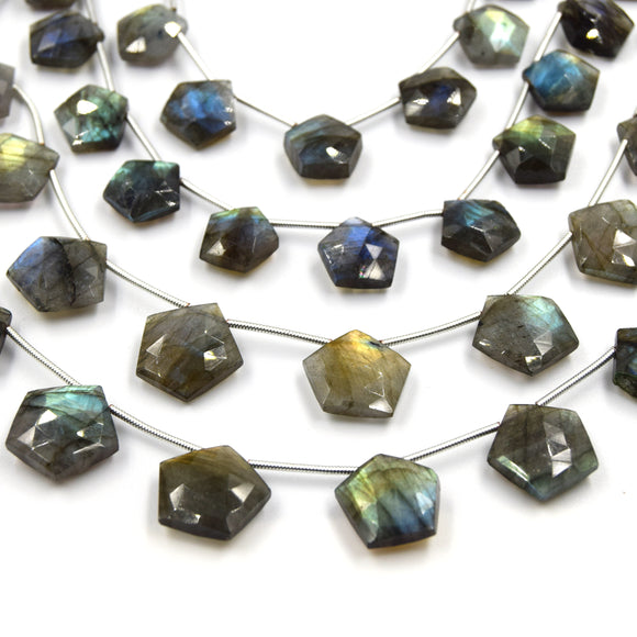 Labradorite Beads | Hand Cut Indian Gemstone | 10mm AND 15mm Pentagon Shaped Beads | AAA Labradorite | Loose Gemstone Beads