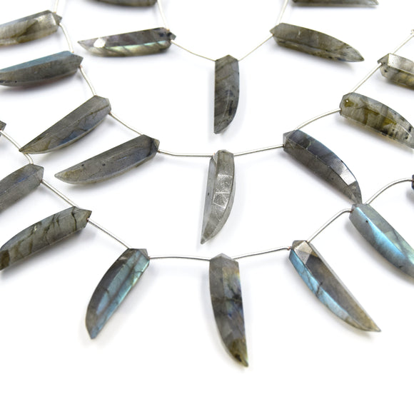 Labradorite Beads | Hand Cut Indian Gemstone | 8mm x 30mm Okra Shaped Beads | AAA Labradorite | Loose Gemstone Beads