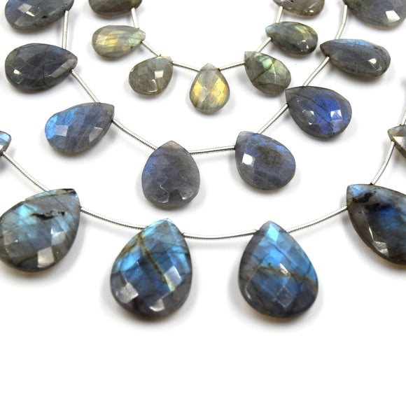 Labradorite Beads | Hand Cut Indian Gemstone | 14mm, 18mm, 25mm Pear Shaped Beads | AAA Labradorite | Loose Gemstone Beads