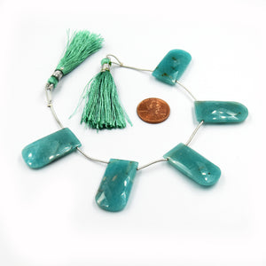 Amazonite Beads | Hand Cut Indian Gemstone | 15mm x 30mm U Shaped Beads | High Quality Amazonite | Loose Gemstone Beads