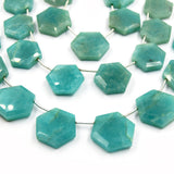 Amazonite Beads | Hand Cut Indian Gemstone | Hexagon Shaped Beads | High Quality Amazonite | Loose Gemstone Beads | Two Sizes Available