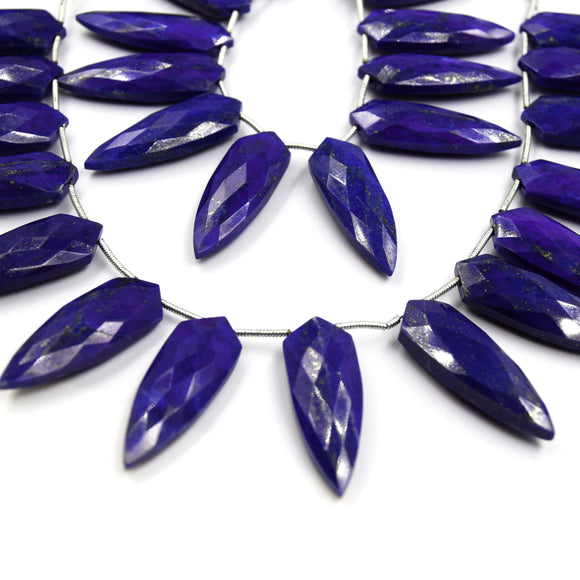 Lapis Lazuli Beads | Hand Cut Indian Gemstone | 10mm x 30mm Tie Shield Shaped Beads | High Quality Lapis Lazuli | Loose Gemstone Beads