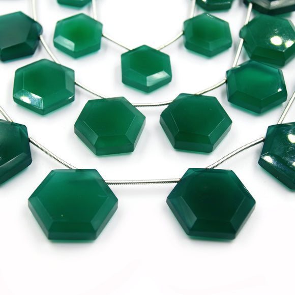 Green Onyx Beads | Hand Cut Indian Gemstone | Hexagon Shaped Beads | High Quality Green Onyx | Loose Gemstone Beads | Three Sizes Available