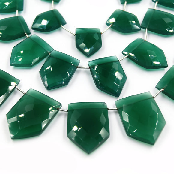 Green Onyx Beads | Hand Cut Indian Gemstone | Shield Shaped Beads | High Quality Green Onyx | Loose Gemstone Beads | Three Sizes Available