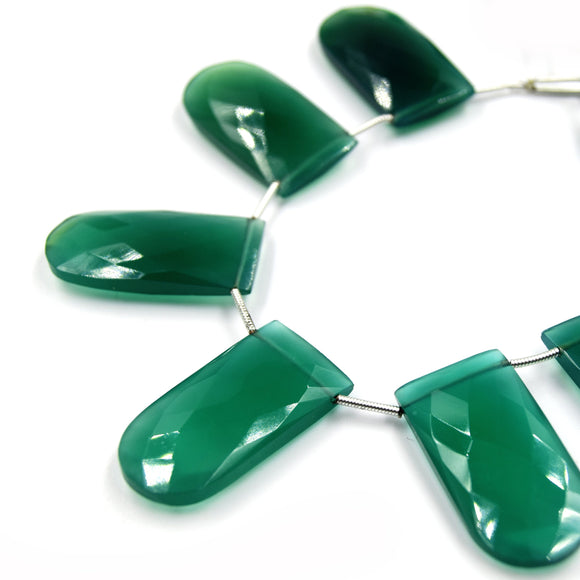 Green Onyx Beads | Hand Cut Indian Gemstone | 15mm x 30mm U Shaped Beads | High Quality Green Onyx | Loose Gemstone Beads