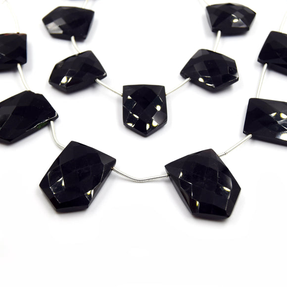 Black Onyx Beads | Hand Cut Indian Gemstone | Shield Shaped Beads | High Quality Black Onyx | Loose Gemstone Beads | Two Sizes Available