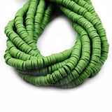 African Vinyl Beads | 6mm Green Vinyl Clay Heishi Disc Beads (Approx. 350 Beads)