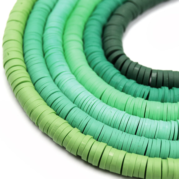 African Vinyl Beads | 8mm Green Vinyl Clay Heishi Disc Beads (Approx. 350 Beads)