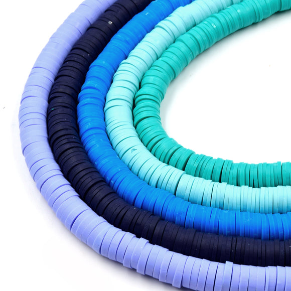 African Vinyl Beads | 8mm Blue Aqua Teal Vinyl Clay Heishi Disc Beads (Approx. 350 Beads)