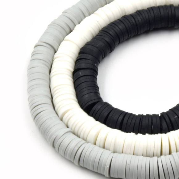 African Vinyl Beads | 8mm Gray White Black Vinyl Clay Heishi Disc Beads (Approx. 350 Beads)