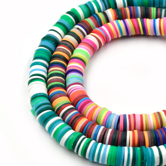 African Vinyl Beads | 8mm Multicolor Vinyl Clay Heishi Disc Beads (Approx. 350 Beads)