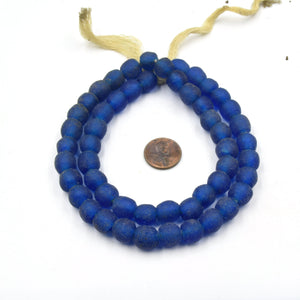 "African Glass Beads | 10mm Recycled African Glass Round Rondelle Beads - Sold by Approx. 21"" Strand (~58 Beads)"