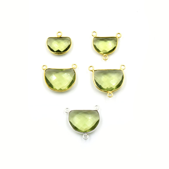 Light Green Quartz Bezel | Gold  Silver Finish Faceted Transparent Half Moon Shaped Pendant Connector Component | Sold Individually