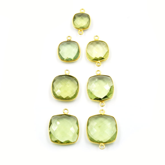 Light Green Quartz Bezel | Gold Finish Faceted Transparent Square Shaped Pendant Connector Component | Sold Individually