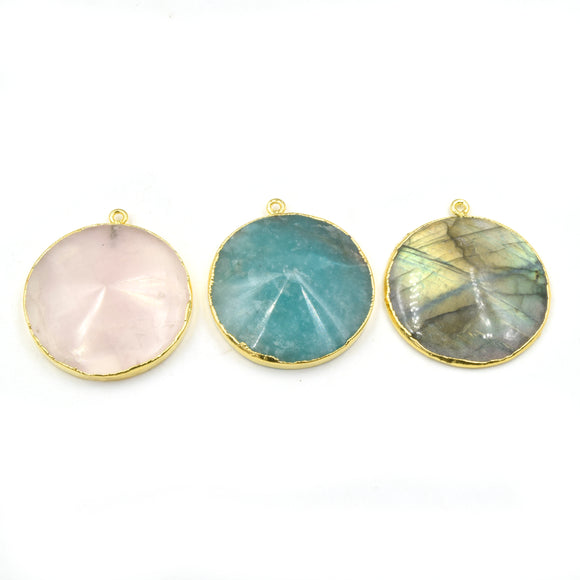 Electroplated Gemstone Pendants | Amazonite, Labradorite, Rose Quartz | 30mm Gold Electroplated Faceted Flat Back Coin Shaped Pendant