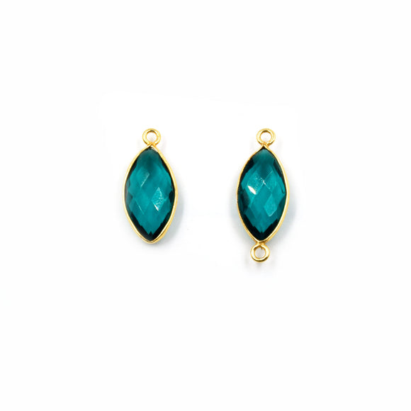 Teal Quartz Bezel | Gold Finish Faceted Transparent Marquise Shaped Pendant Connector Component | Sold Individually