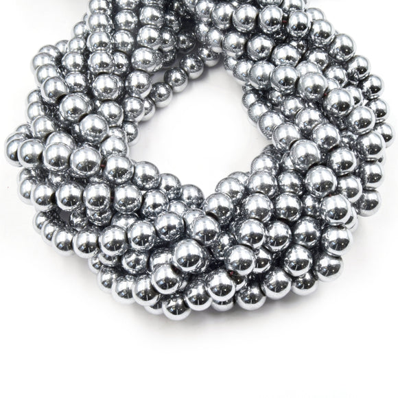 Silver Hematite Beads |   Round Natural Gemstone Beads - 4mm 6mm 8mm 10mm Available