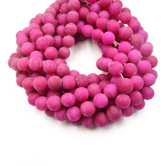 12mm Matte Round/Ball Magenta Jade Beads - 15