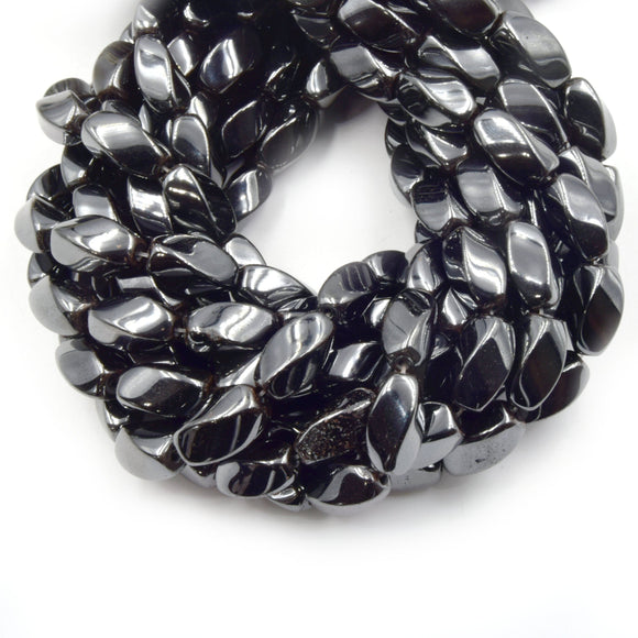 Hematite Beads | Gunmetal Twisted Barrel Natural Gemstone Beads | 8mm x 16m