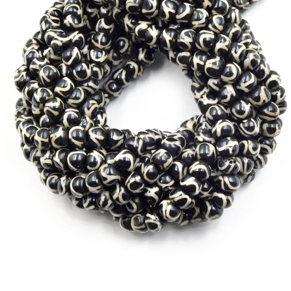 Bone Beads | Batik Ox Bone Rondelle Beads | Black Brown Tribal Swirl Painted Bone Beads |  8mm 10mm 12mm Available