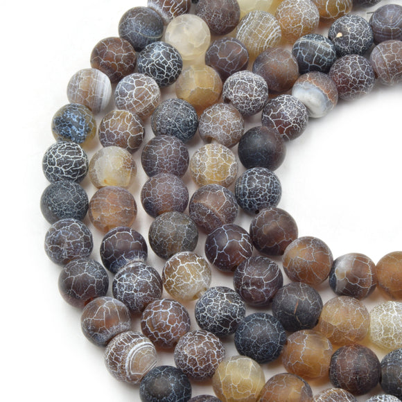 Large Hole Fire Agate Bead | Black/Brown Natural Agate Matte Round/Ball Shaped Beads with 2.5mm Holes - 7.75
