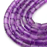 "Large Hole Amethyst Beads | Natural Amethyst Barrel Round Shaped Beads with 2.5mm Holes - 7.75"" Strand"