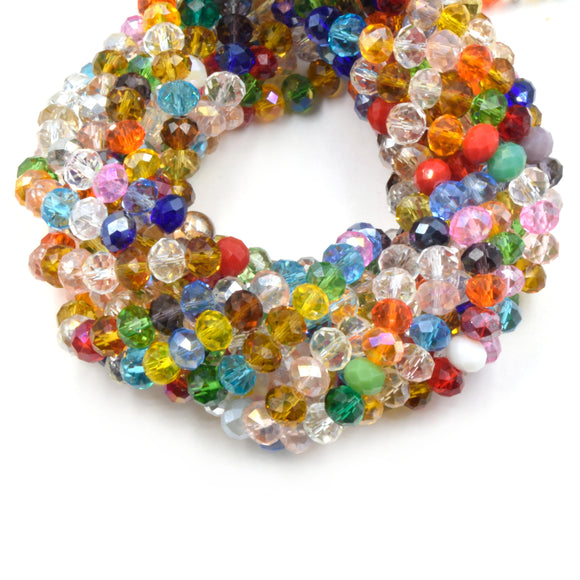 Chinese Crystal Beads | Faceted Mix Rondelle Shaped Crystal Beads | 8mm Available