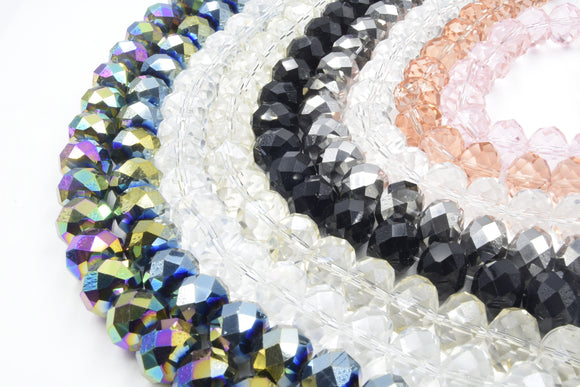 Chinese Crystal Beads | 17mm Faceted Rondelle Shaped Crystal Beads |  Blue Green Rainbow Black Pink Clear Gray  Champagne Available
