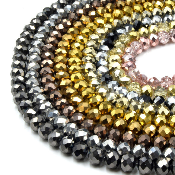 Chinese Crystal Beads | Metallic Rondelle Shaped Crystal Beads | Gold Silver Gunmetal Bronze Rose Gold Available