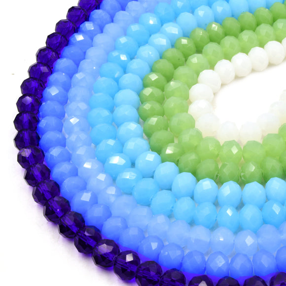 Chinese Crystal Beads | 10mm Faceted Rondelle Shaped Crystal Beads | Blue, Green, White Available