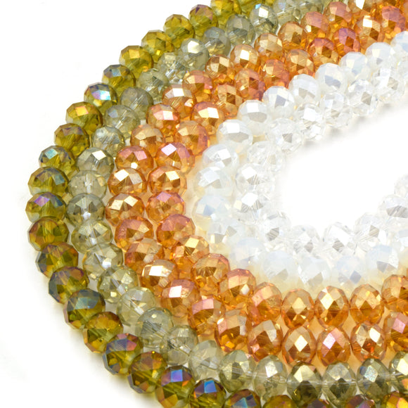 Chinese Crystal Beads | 10mm Faceted AB Coated Rondelle Shaped Crystal Beads | Red Blue Green Yellow Available