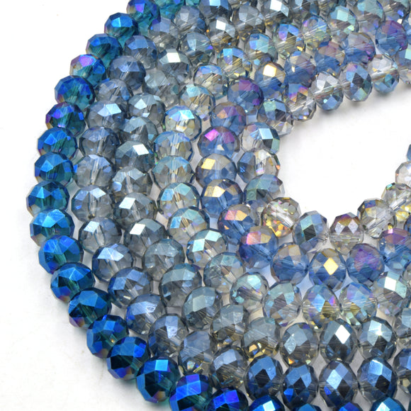 Chinese Crystal Beads | 10mm Faceted Multicolor AB Rondelle Shaped Crystal Beads