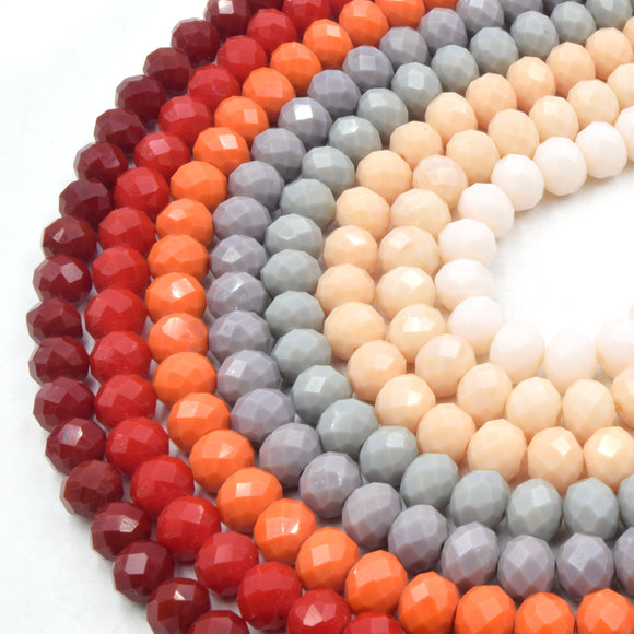 Chinese Crystal Beads | 10mm Faceted Opaque Rondelle Shaped Crystal Beads | Red Orange Gray Peach Pink