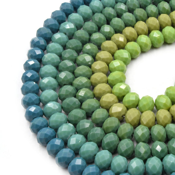 Chinese Crystal Beads | 10mm Faceted Opaque Rondelle Shaped Crystal Beads | Green Crystal Beads