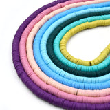 African Vinyl Beads | 6mm Purple Pink Blue Green Yellow Vinyl Clay Heishi Disc Beads (Approx. 350 Beads)
