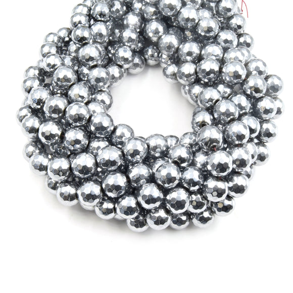 Hematite Beads | Silver Faceted Round Natural Gemstone Beads - 4mm 6mm 8mm 10mm 12mm Available