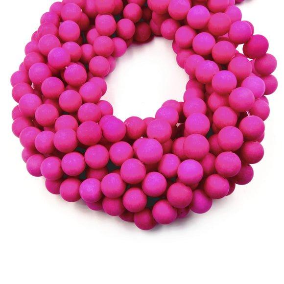 10mm Matte Fuchsia Jade Round/Ball Shaped Beads - 15.5