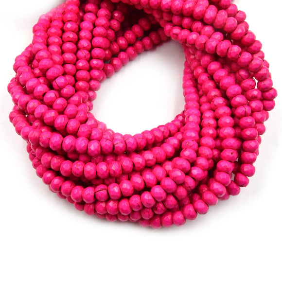 Dyed Howlite Beads | 4mm x 6mm Pink Faceted Rondelle Shaped Beads