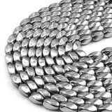 Hematite Beads | Silver Twisted Barrel Natural Gemstone Beads | 8mm x 16m